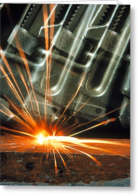 Safety Test Greeting Cards - Sparks From A Thermite Reaction Greeting Card by Crown Copyrighthealth & Safety Laboratory