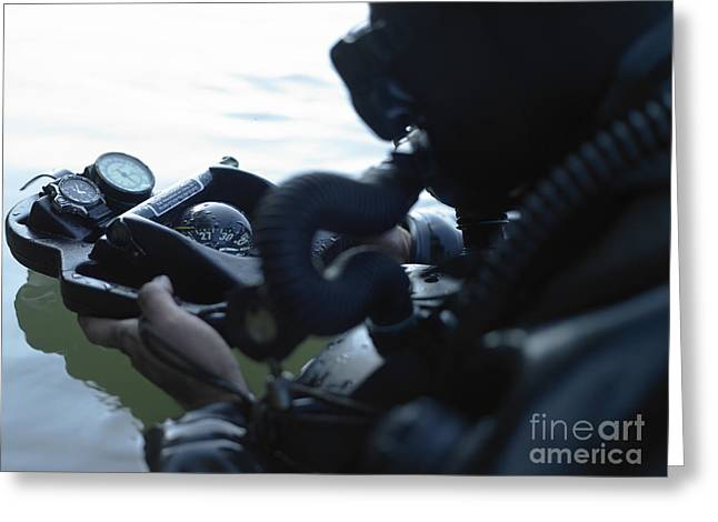 Snorkel Greeting Cards - Special Forces Combat Diver Takes Greeting Card by Tom Weber