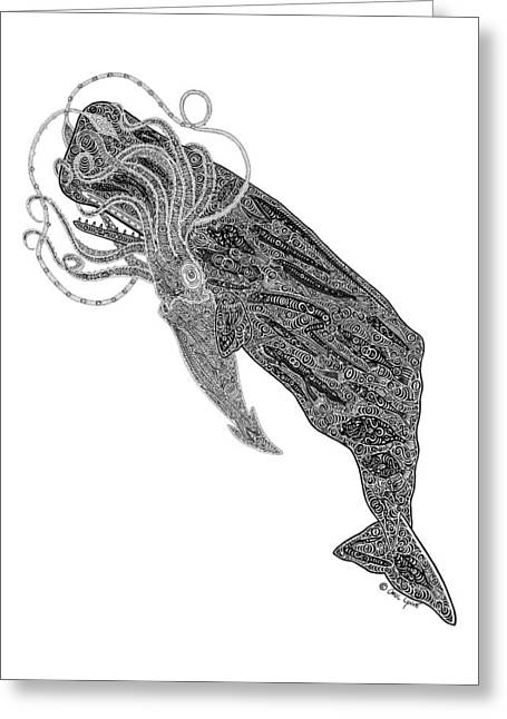 Giant Squid Greeting Cards - Sperm Whale and Squid Greeting Card by Carol Lynne