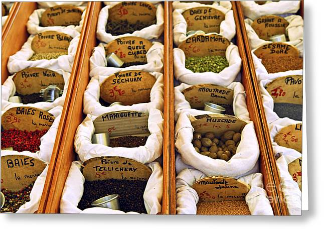 Label Photographs Greeting Cards - Spices on the market Greeting Card by Elena Elisseeva