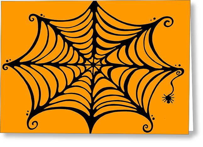 Halloween Mixed Media Greeting Cards - Spiders Web Greeting Card by Mandy Shupp