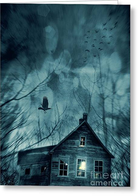 Ghostly Greeting Cards - Spooky house at sunset  Greeting Card by Sandra Cunningham