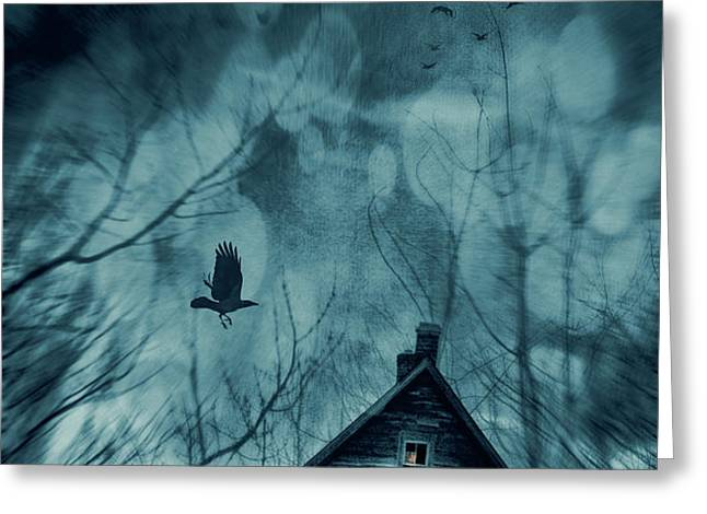 Spooky house at sunset  Greeting Card by Sandra Cunningham