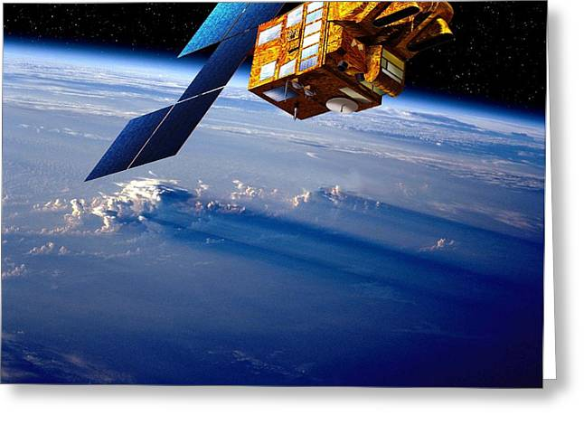 Geometric Artwork Greeting Cards - Spot 5 Satellite, Artwork Greeting Card by David Ducros