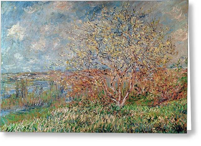 Season. Sky. Clouds Greeting Cards - Spring Greeting Card by Claude Monet