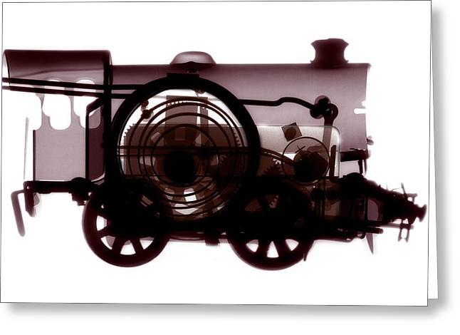 Spring Train, X-ray Greeting Card by Neal Grundy