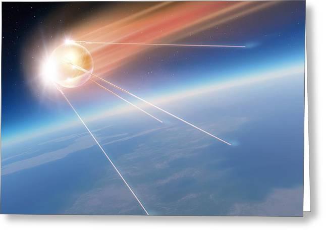 Sputnik Greeting Cards - Sputnik 1 Satellite, Computer Artwork Greeting Card by Detlev Van Ravenswaay