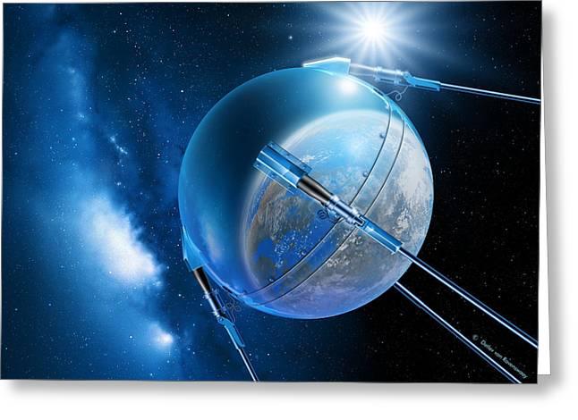Sputnik Greeting Cards - Sputnik 1 Satellite Greeting Card by Detlev Van Ravenswaay