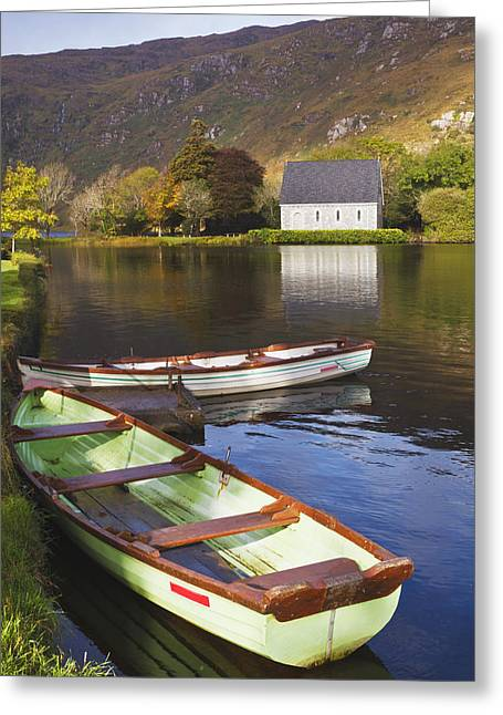 Gougane Barra Church Greeting Cards - St. Finbarres Oratory And Rowing Boats Greeting Card by Ken Welsh