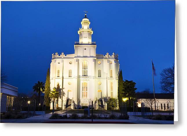 St. George Temple Greeting Cards - St George Temple Greeting Card by La Rae  Roberts