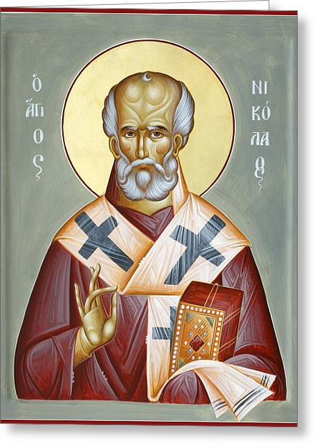 The Real Santa Claus Greeting Cards - St Nicholas of Myra Greeting Card by Julia Bridget Hayes