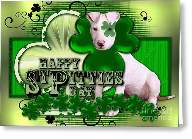 Bully Digital Greeting Cards - St Patricks - Happy St Pitties Day Greeting Card by Renae Laughner