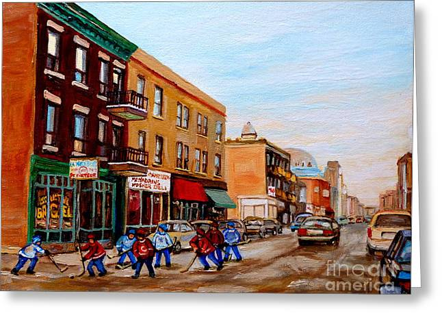 Carole Spandau Art Of Hockey Paintings Greeting Cards - St. Viateur Bagel Hockey Game Greeting Card by Carole Spandau