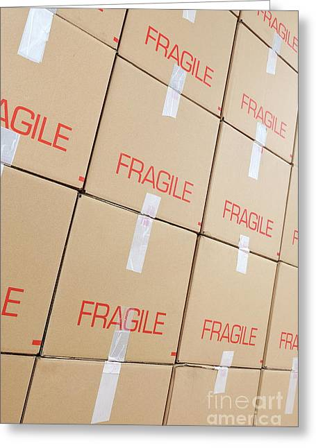 Stacks Of Cardboard Boxes Marked 'fragile' Greeting Card by Sami Sarkis