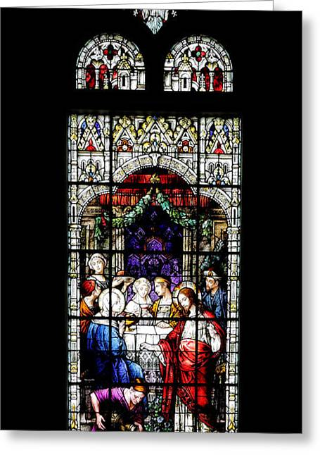 Religious Art Photographs Greeting Cards - Stained Glass Window Greeting Card by Rudy Umans