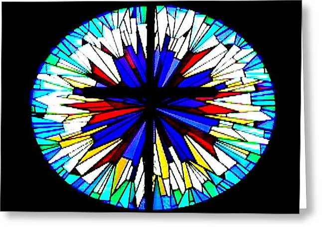 Stainglass Greeting Cards - StainGlassCross Greeting Card by April Patterson