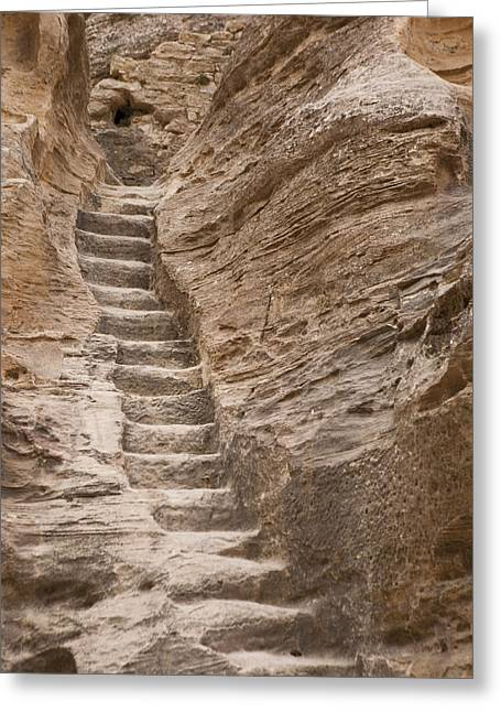 Jordan Trail Greeting Cards - Stairs Lead Up A Rock Face In Little Greeting Card by Taylor S. Kennedy