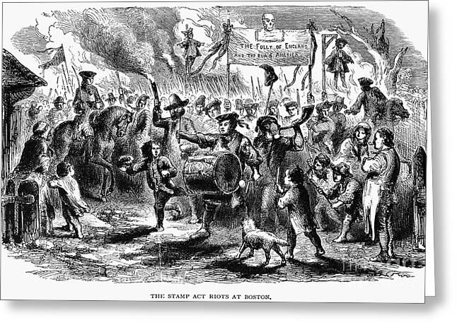 Protesters Greeting Cards - Stamp Act Riot, 1765 Greeting Card by Granger