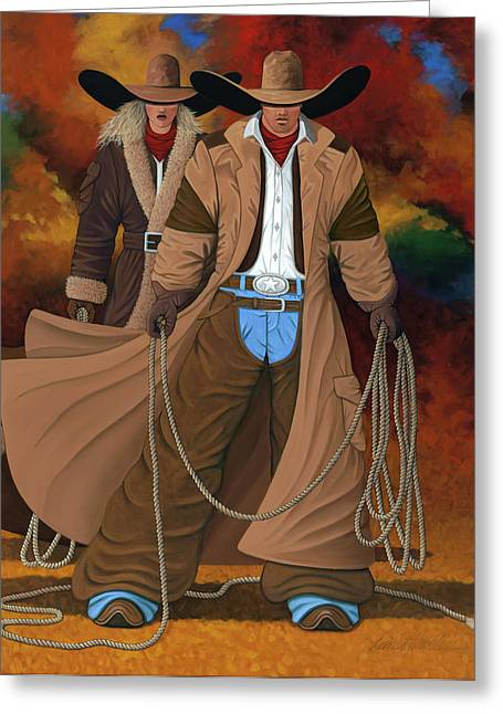Cowgirl Greeting Cards - Stand By Your Man Greeting Card by Lance Headlee