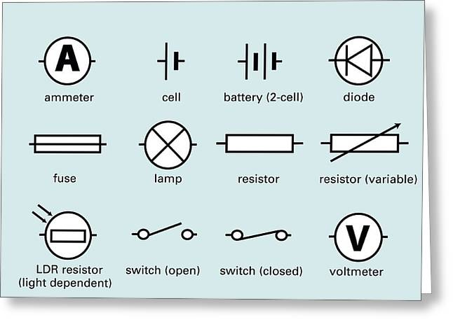 Light Dependent Resistors Greeting Cards - Standard Electrical Circuit Symbols Greeting Card by Sheila Terry