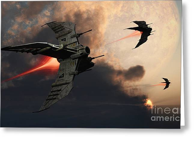 Starfighter Greeting Cards - Star Fighters On A Routine Space Patrol Greeting Card by Mark Stevenson