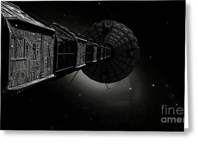 Interstellar Travel Greeting Cards - Starship Inspired By The Novels Greeting Card by Rhys Taylor