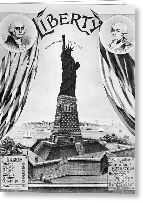 Statue Portrait Greeting Cards - Statue Of Liberty, 1885 Greeting Card by Granger
