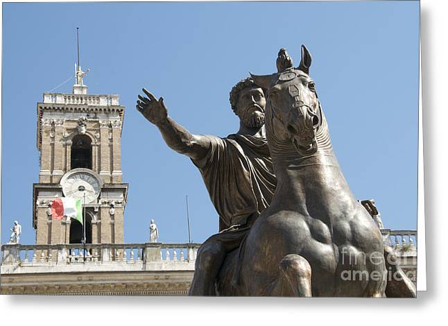 Historically Greeting Cards - Statue of Marcus Aurelius on Capitoline Hill Rome Lazio Italy Greeting Card by Bernard Jaubert