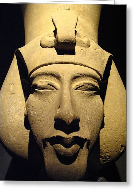 Pharaoh Greeting Cards - Statue Of Pharaoh Akhenaten, Also Known Greeting Card by Richard Nowitz