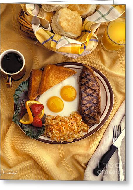 Toast Greeting Cards - Steak and Eggs Breakfast Greeting Card by Vance Fox