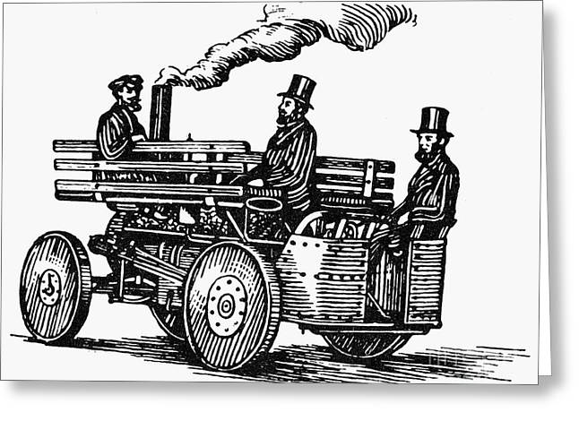 American Automobiles Greeting Cards - Steam Carriage, 1860 Greeting Card by Granger
