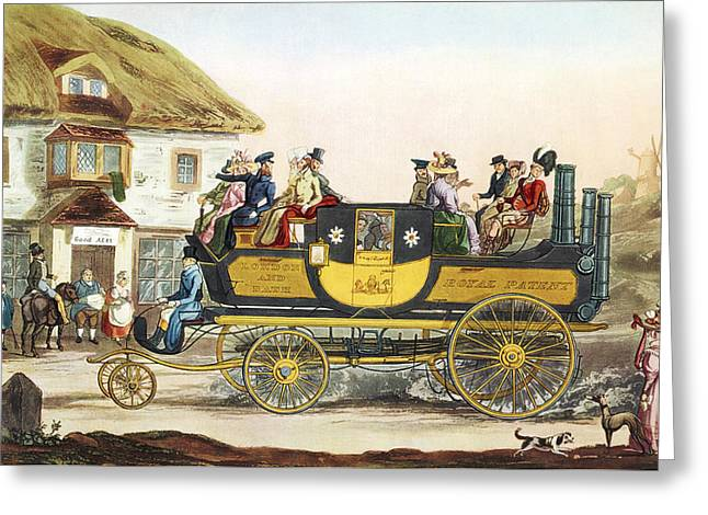 Gurney Greeting Cards - Steam-powered Coach, 1826 Greeting Card by Sheila Terry