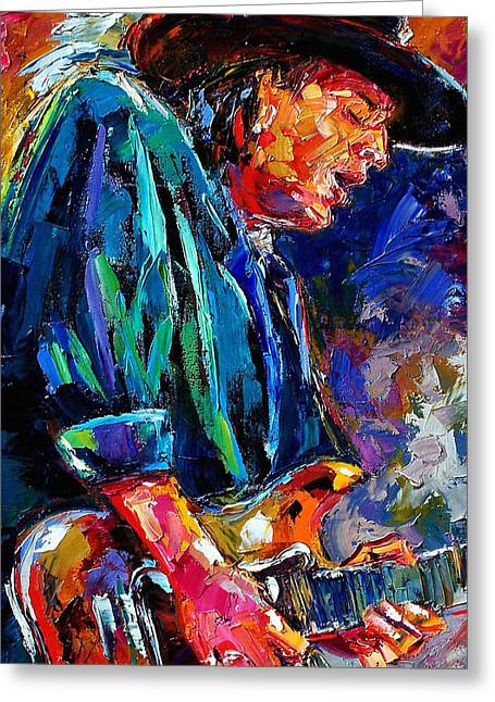 Rock Paintings Greeting Cards - Stevie Ray Vaughan Greeting Card by Debra Hurd