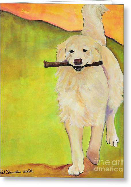 Retriever Prints Greeting Cards - Stick Together Greeting Card by Pat Saunders-White