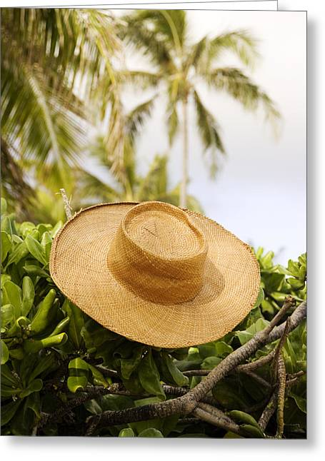 Green Hat Art Greeting Cards - Still life of straw hat Greeting Card by David Cornwell/First Light Pictures, Inc - Printscapes