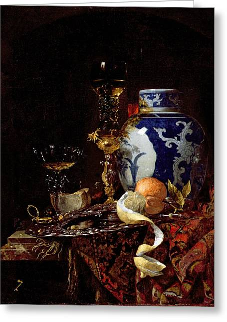 Persian Greeting Cards - Still Life with a Chinese Porcelain Jar Greeting Card by Willem Kalf