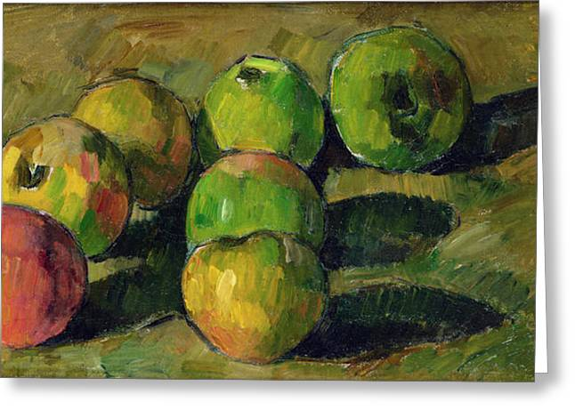 Growth Paintings Greeting Cards - Still Life with Apples Greeting Card by Paul Cezanne