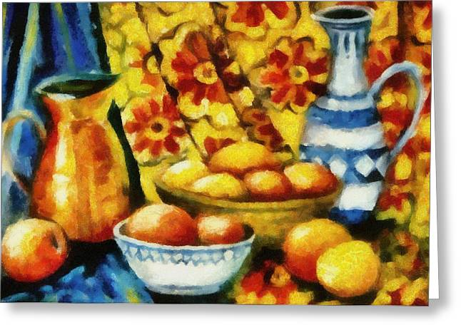 Delft Greeting Cards - Still Life with Oranges Greeting Card by Michelle Calkins