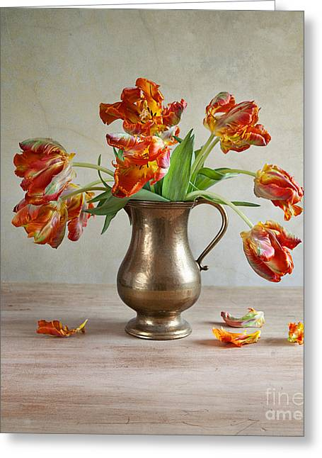 Brass Greeting Cards - Still Life with Tulips Greeting Card by Nailia Schwarz