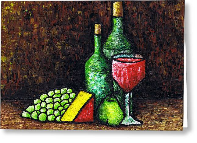 Still Life With Pears Greeting Cards - Still Life With Wine and Cheese Greeting Card by Kamil Swiatek