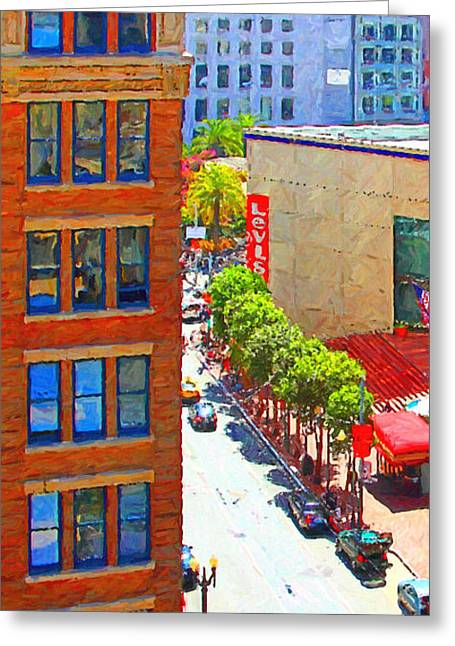 Hyatt Hotel Greeting Cards - Stockton Street San Francisco . View Towards Union Square Greeting Card by Wingsdomain Art and Photography