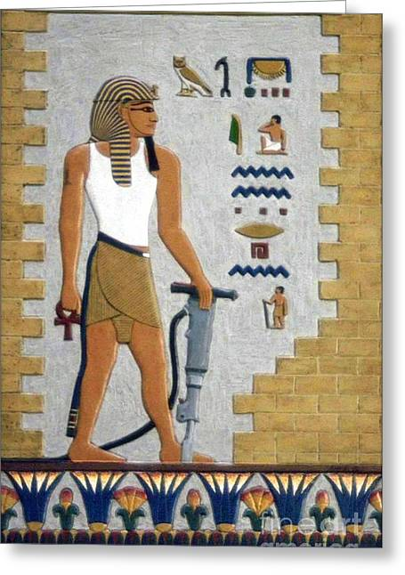Statue Reliefs Greeting Cards - Stone Cutter Greeting Card by Richard Deurer