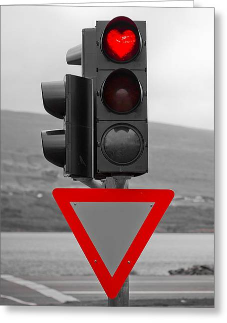 Stop Light Greeting Cards - Stop Heart Greeting Card by Anthony Doudt
