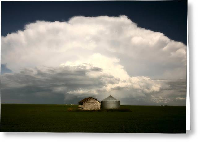 Summer Scene Greeting Cards - Storm clouds over Saskatchewan granaries Greeting Card by Mark Duffy