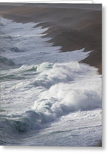 Atlantic Beaches Greeting Cards - Storm Waves At Chesil Beach Greeting Card by Adrian Bicker