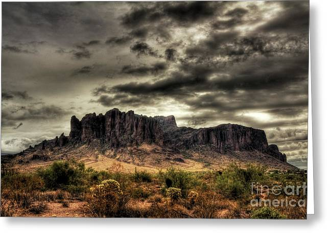 The Superstitions Greeting Cards - Stormy Morning  Greeting Card by Saija  Lehtonen