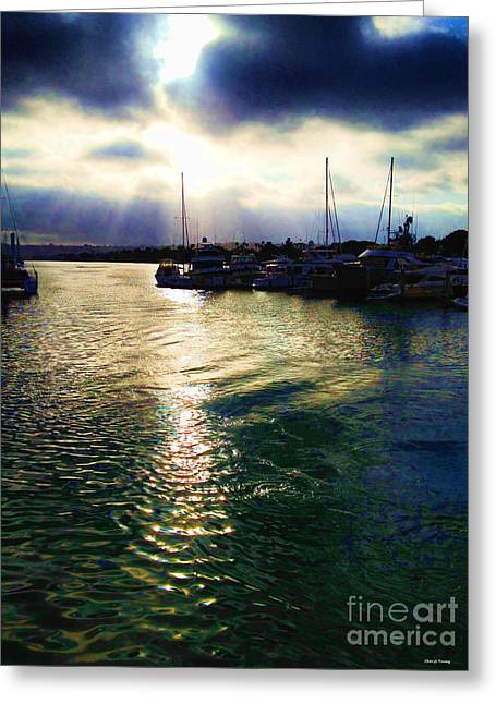 Sailboats Docked Greeting Cards - Stormy Skies Greeting Card by Cheryl Young