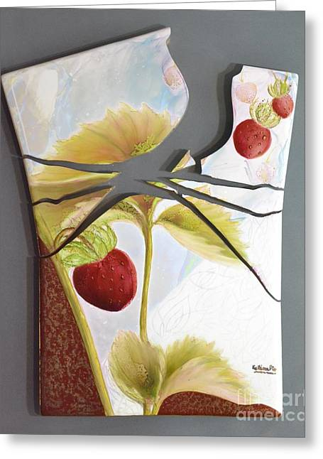 Leafs Ceramics Greeting Cards - Strawberry Explosion Greeting Card by Kathleen Pio