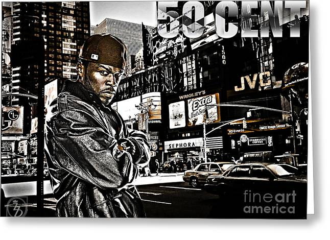 D77 Greeting Cards - Street Phenomenon 50 Cent Greeting Card by The DigArtisT