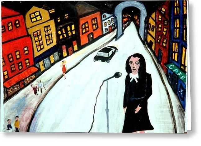 Edith Piaf Greeting Cards - Street Singer Greeting Card by Eliezer Sobel